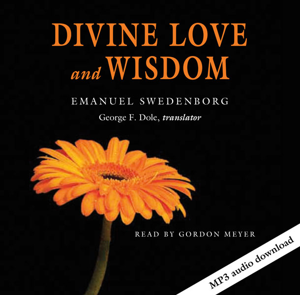 Cover of the Divine Love and Wisdom audio book featuring an orange gerbera daisy flower.
