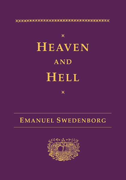 Purple and gold cover of the hardback version of Heaven and Hell by Emanuel Swedenborg