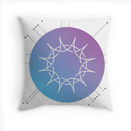 White pillow with blue and purple Swedenborg Foundation logo variation