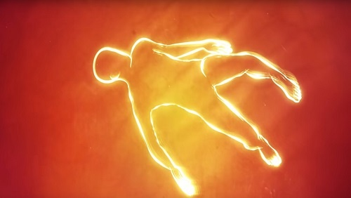 A glowing human figure floats in a background of red and orange.