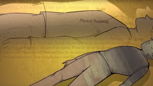 An artistic representation of physical vs. spiritual breathing. A human form is prone, with two layers of overlay demonstrating breathing.