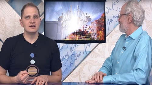 Curtis and Jonathan sit at the anchor desk, an image of a gate to heaven, shining with white light, or a gate to hell, full of fire, is on a screen between them.