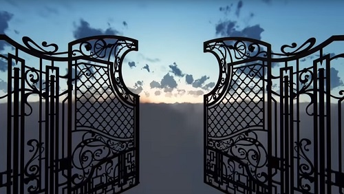 An intricate metal gate, opening away from us into a blue and white sky.