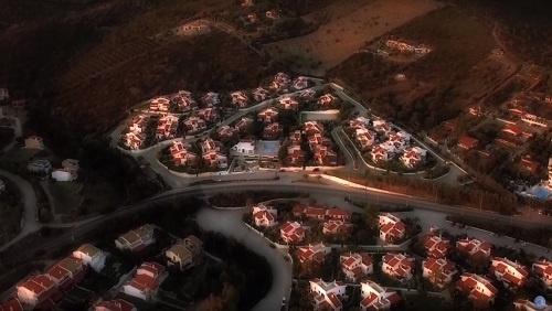 Meditation image, an aerial view of a town.