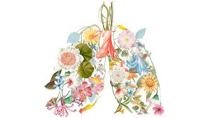 An illustration of a collection of flowers in the shape of a pair of human lungs.