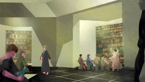 An illustration of people wearing robes working and reading in a bright library, with shelves of books stacked high.