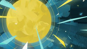 An illustration of a bright yellow sun radiating yellow, orange, and aqua rays against a darker blue background.