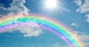 A photograph of a rainbow arcing through a bright blue sky.