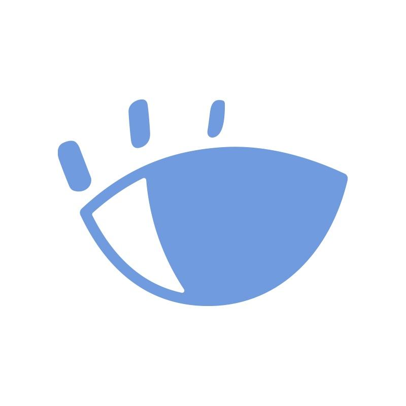 Blue and white open eye, off the left eye logo