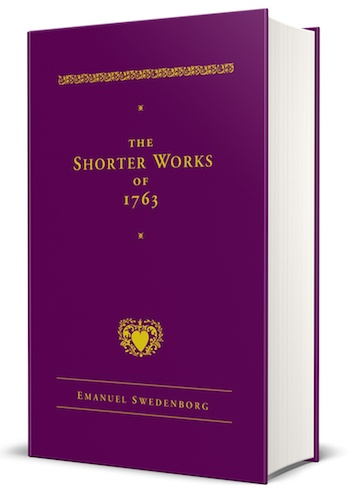 "Three-dimensional image of the purple hardcover book ""The Shorter Works of 1763 by Emanuel Swedenborg"""