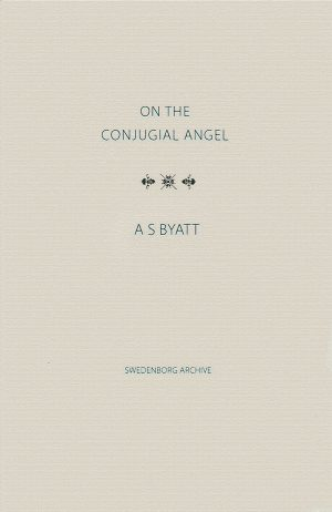 "Beige book cover of ""On the Conjugial Angel"" by A.S. Byatt"
