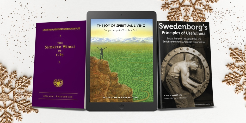 Three books on a white background with gold snowflakes. The Shorter Works of 1763, The Joy of Spiritual Living, Swedenborg's Principles of Usefulness.