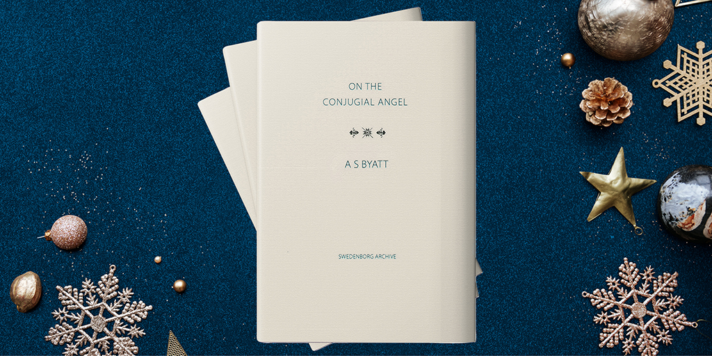 """The cream-colored cover of """"On the Conjugial Angel"""" by A S Byatt. Against a dark blue background with silver snowflakes."""