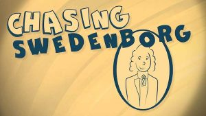 """A cartoon illustration of Emanuel Swedenborg in a mirror. He wears a wig and a slight smile. The words """"Chasing Swedenborg"""" are blue on a yellow background."""