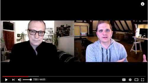 Image of Gary Lachman and Curtis Childs on a video chat call